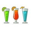 Alcohol cocktail set. Vintage vector engraving illustration
