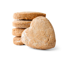 Homemade Heart Shaped Cookies On White Background