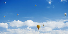 Hot Air Balloons Flying In Clo...