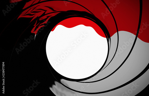 gun barrel target background with blood running down the screen Canvas Print