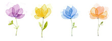 Picture Water Colour, Hand Draw, Purple Flowers, Yellow, Blue, Orange.