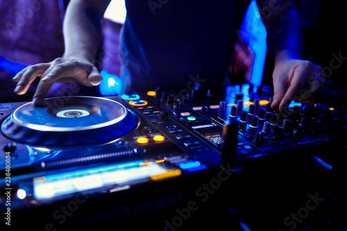 DJ console at the nightclub. Nightlife Wallpaper Mural