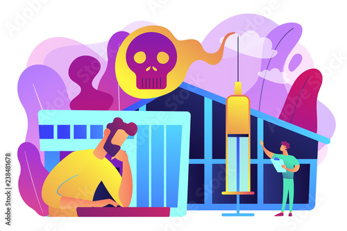 Patient getting medical treatment for dependency on psychoactive substances. Drug rehab center, experimental treatment, drug rehabilitation concept. Bright vibrant violet vector isolated illustration