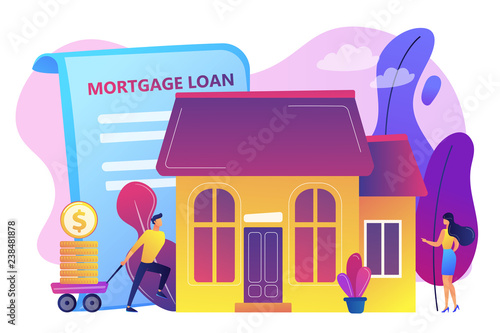 Borrower making mortgage payment for real estate and mortgage loan agreement. Mortgage loan, home bank credit, real estate services concept. Bright vibrant violet vector isolated illustration