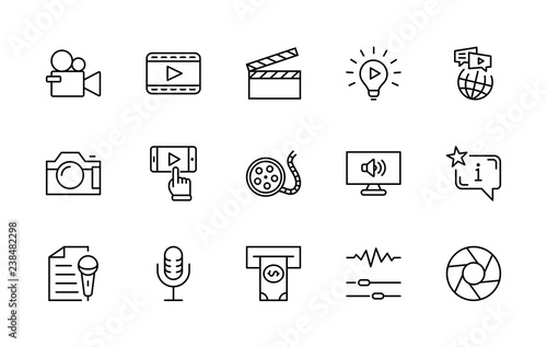 Valokuva International Film Day Set Line Vector Icons