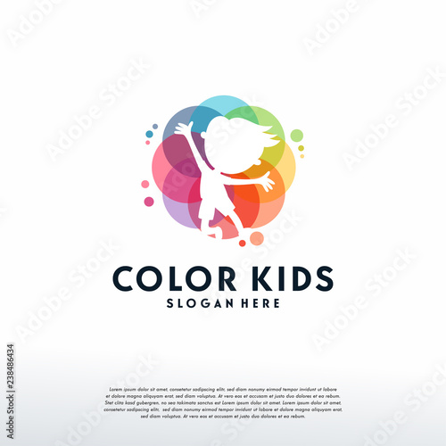 Fototapeta Colorful People Care logo vector, Children Love logo designs template, design concept, logo, logotype element for template obraz