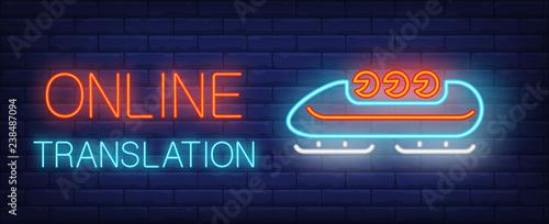 Obraz na płótnie Online translation neon sign