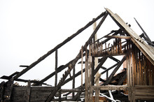 Home Insurance, Burned Down House In The Winter, Snow, Rooftop Fire Damage, Insurance Of Housing