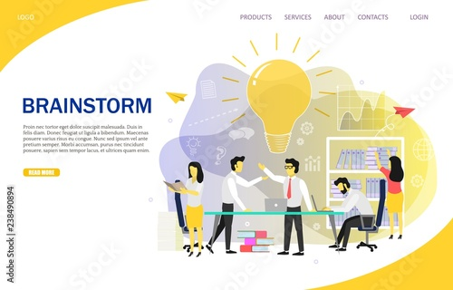 Fototapety, obrazy: Brainstorming team landing page website vector template