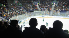 A Group Of Silhouettes Of Young People Watching Hockey Match In A Closed Stadium