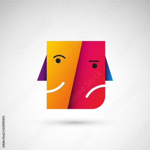 Obraz na plátne wesoła smutna twarz logo wektor
