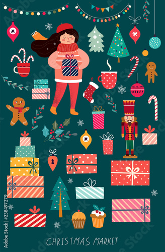 Collection of traditional Christmas elements. Illustration with girl and Christmas gifts.  sc 1 st  Adobe Stock & Collection of traditional Christmas elements. Illustration with girl ...