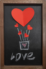 Red Heart Balloon For Valentines Day Blackboard