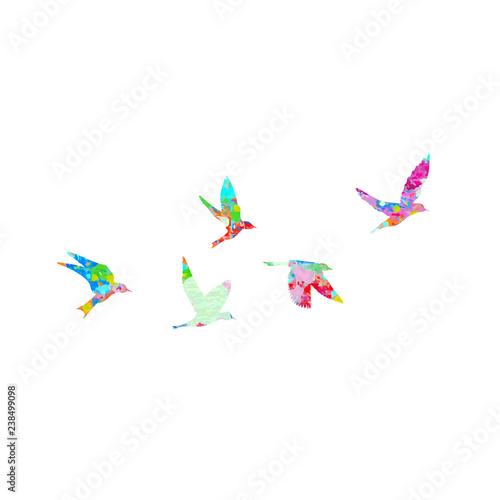 Deurstickers Geometrische dieren Silhouette of watercolour flying birds on white background. Inspirational watercolor paint trendy body flash temporary sticker template tattoo art. Vector.
