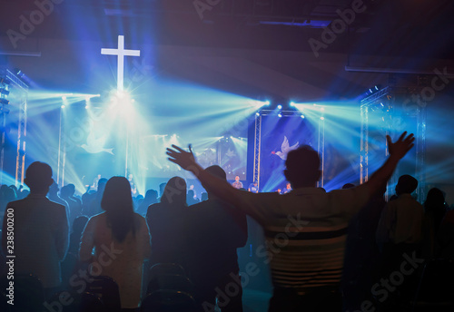 Christmas concept: Blurred Christian Congregation Worship God together in Church Wallpaper Mural