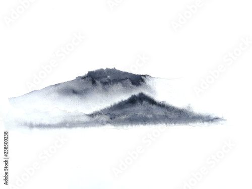 Fotografia  watercolor ink landscape chinese mountain fog