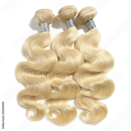 Fotografie, Tablou  Body wavy bleached blonde human hair weaves extensions bundles