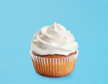 Cupcake On A Blue Background.