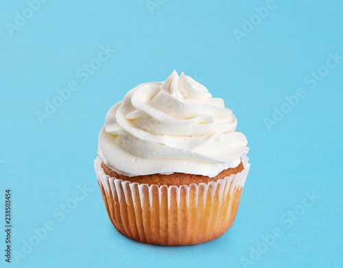 Stampa su Tela  Cupcake on a blue background.