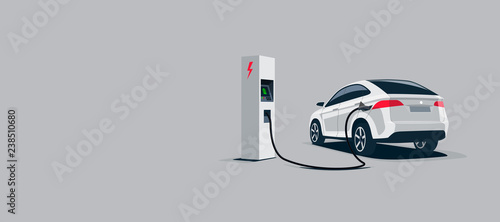 Платно Vector illustration of a luxury white electric car suv charging at the electro charger station