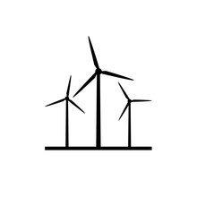 Windmill Farm Silhouette Icon. Clipart Image Isolated On White Background