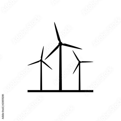 Cuadros en Lienzo Windmill farm silhouette icon