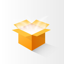 Open Cardboard Box With The Magic Light. Clipart Image Isolated On White Background