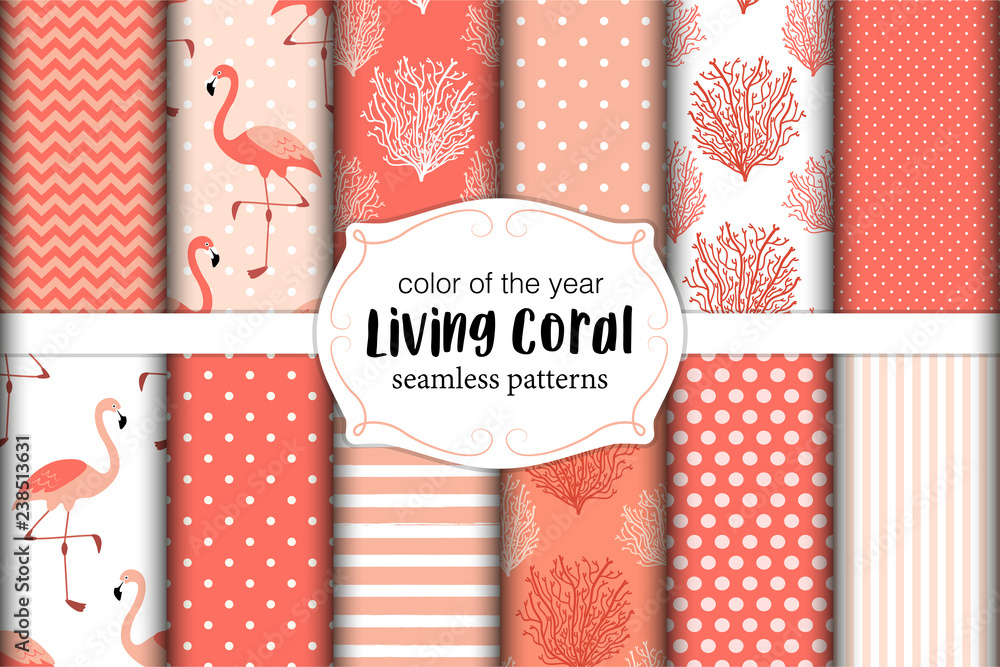 Fototapeta Cute set of seamless patterns in color of 2019 year Living Coral. Vector illustration.
