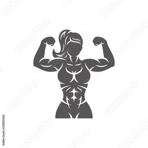 Fototapeta Bodybuilder female silhouette isolated on white background vector illustration