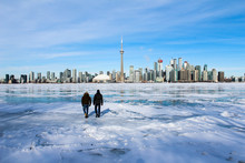 Walking On Ice With A City View