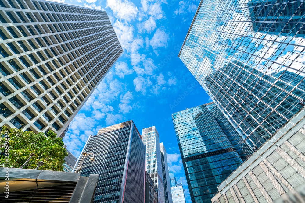 Fototapeta Commercial buildings in Hongkong are low angle, China,