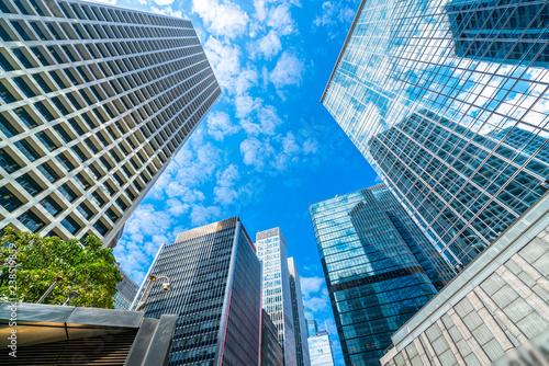 Billede på lærred Commercial buildings in Hongkong are low angle, China,