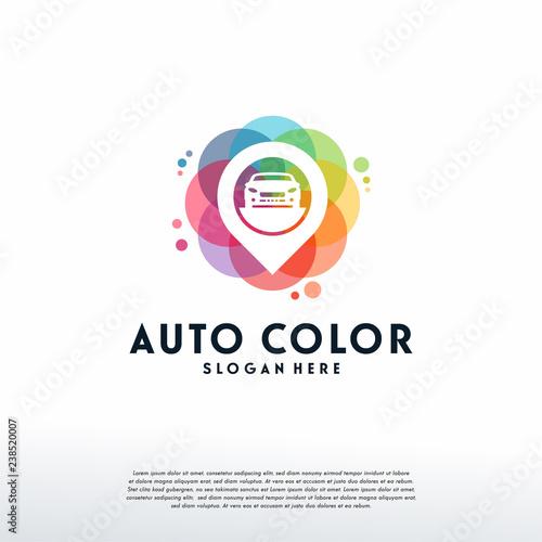Colorful Car Point Logo Vector Car Finder Logo Designs Template