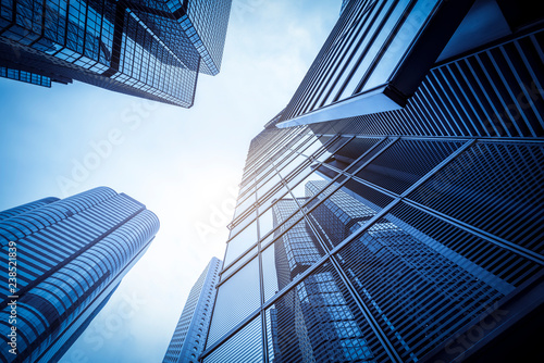 Canvas Commercial buildings in Hongkong are low angle, China,