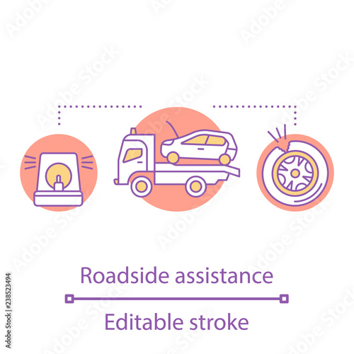 Roadside assistance concept icon - Buy this stock vector and explore