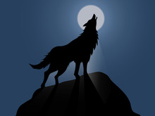 Silhouette Of Howling Wolf Vec...