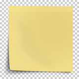 Office yellow paper sticker with bent lower left corner isolated on transparent background. Template vector post note.