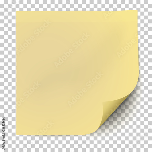 Fotomural Office yellow paper sticker with curled the lower right corner and shadow isolated on transparent background
