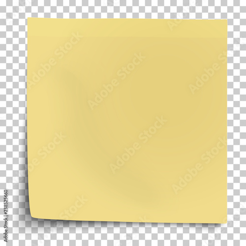 Fotografía  Office yellow paper sticker with bent lower left corner isolated on transparent background