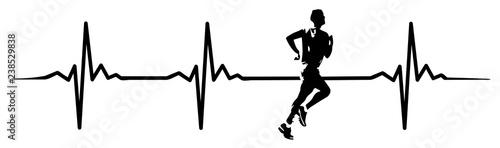 runner heartbeat #isoliert #vektor - Fitness Herzschlag