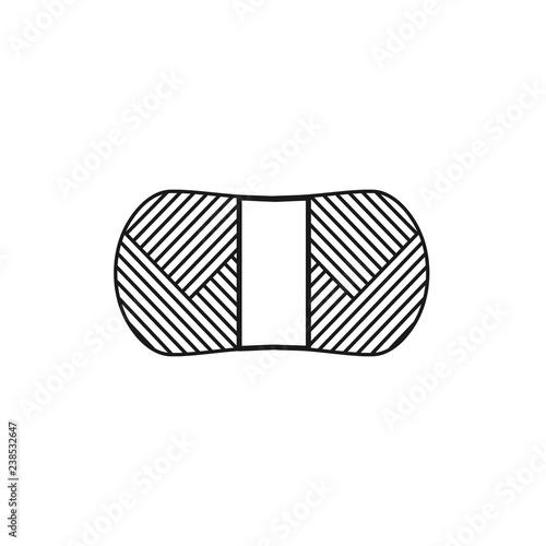 Black & white vector illustration of knitting wool acrylic