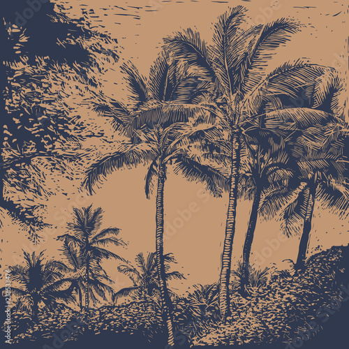 Spoed Foto op Canvas Zalm tropical landscape with palms trees. linocut style. vector illustration.