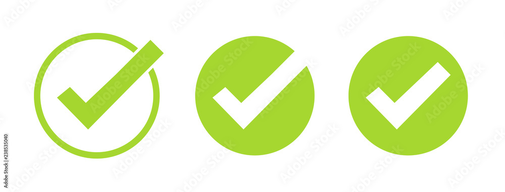 Fototapeta Set of green tick icons. Vector symbols set, checkmarks collection isolated on white background. Checked icon or correct choice sign. Check mark or checkbox pictogram. - obraz na płótnie
