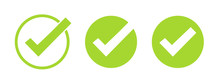 Set Of Green Tick Icons. Vecto...