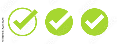 Obraz Set of green tick icons. Vector symbols set, checkmarks collection isolated on white background. Checked icon or correct choice sign. Check mark or checkbox pictogram. - fototapety do salonu