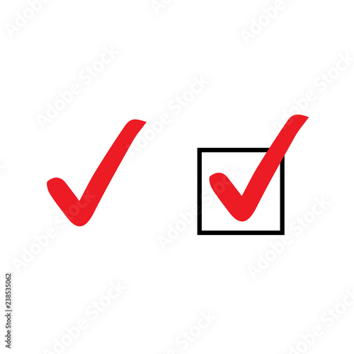Fotografie, Obraz  Set of red tick icons