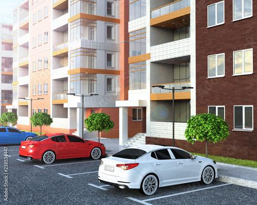 car parking near residential building, 3d illustration Tapéta, Fotótapéta