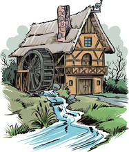 Watermill In The Countryside On The River.
