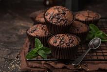 Delicious Chocolate Muffins On  Dark Background