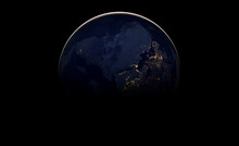Abstract Image Wallpaper Of Planet Earth In Dark Outer Space. Elements Of This Image Furnished By NASA